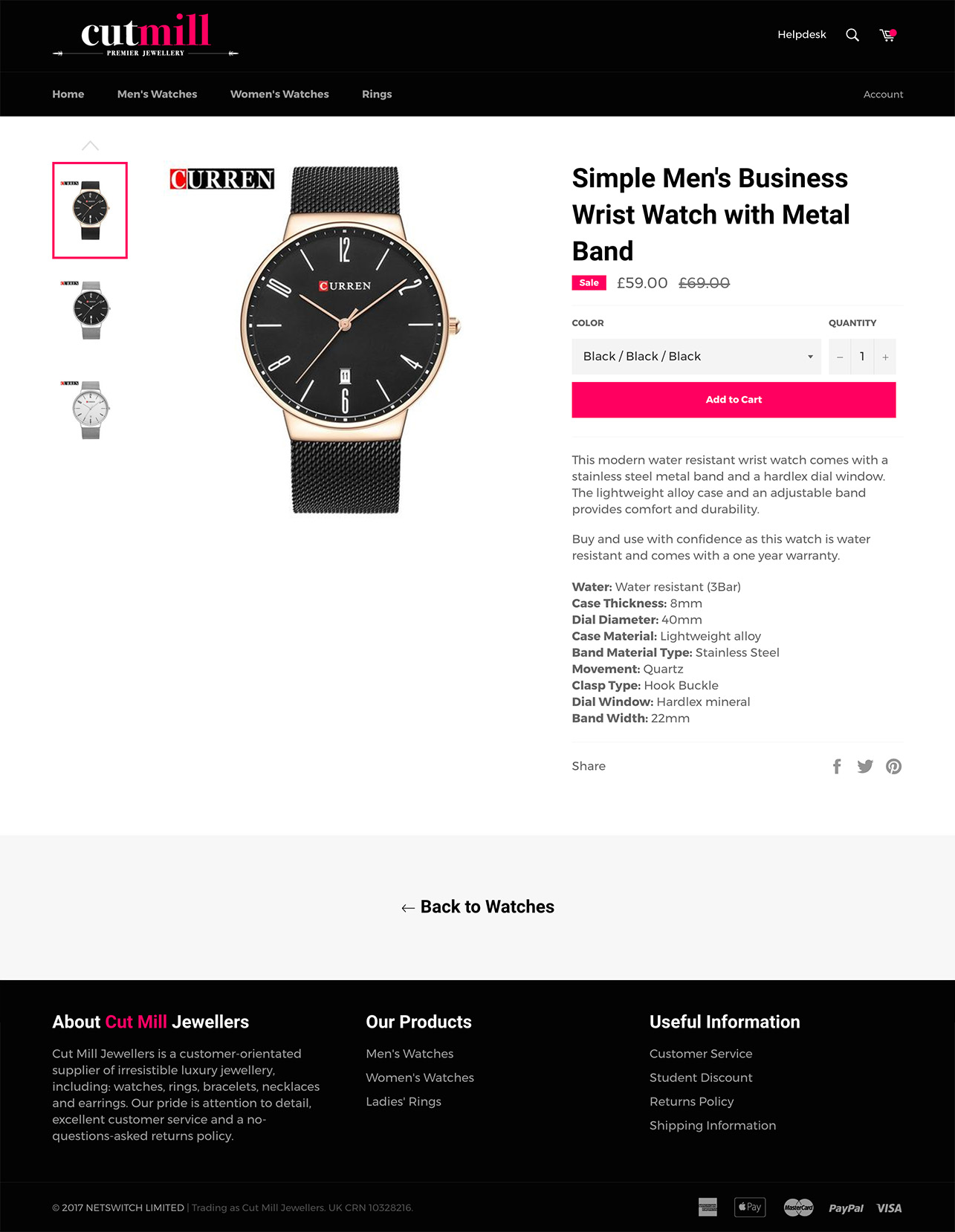Cut Mill Jewellers - Product page